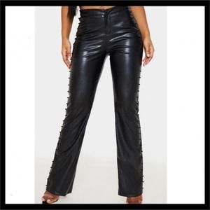 PrettyLittleThing Beaded Side Faux Leather Pants